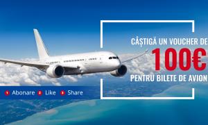 """Concurs Tourio.ro: """"Castiga un VOUCHER de 100 EURO pentru bilete de avion"""""""