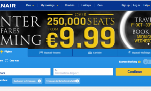 Promotie Ryanair: bilete de avion la 20 euro/p dus-intors